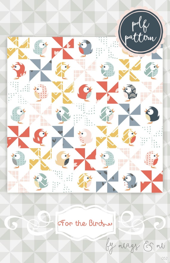 Instant Download For The Birds An Appliqué And Pinwheel Etsy Awesome Pinwheel Quilt Pattern