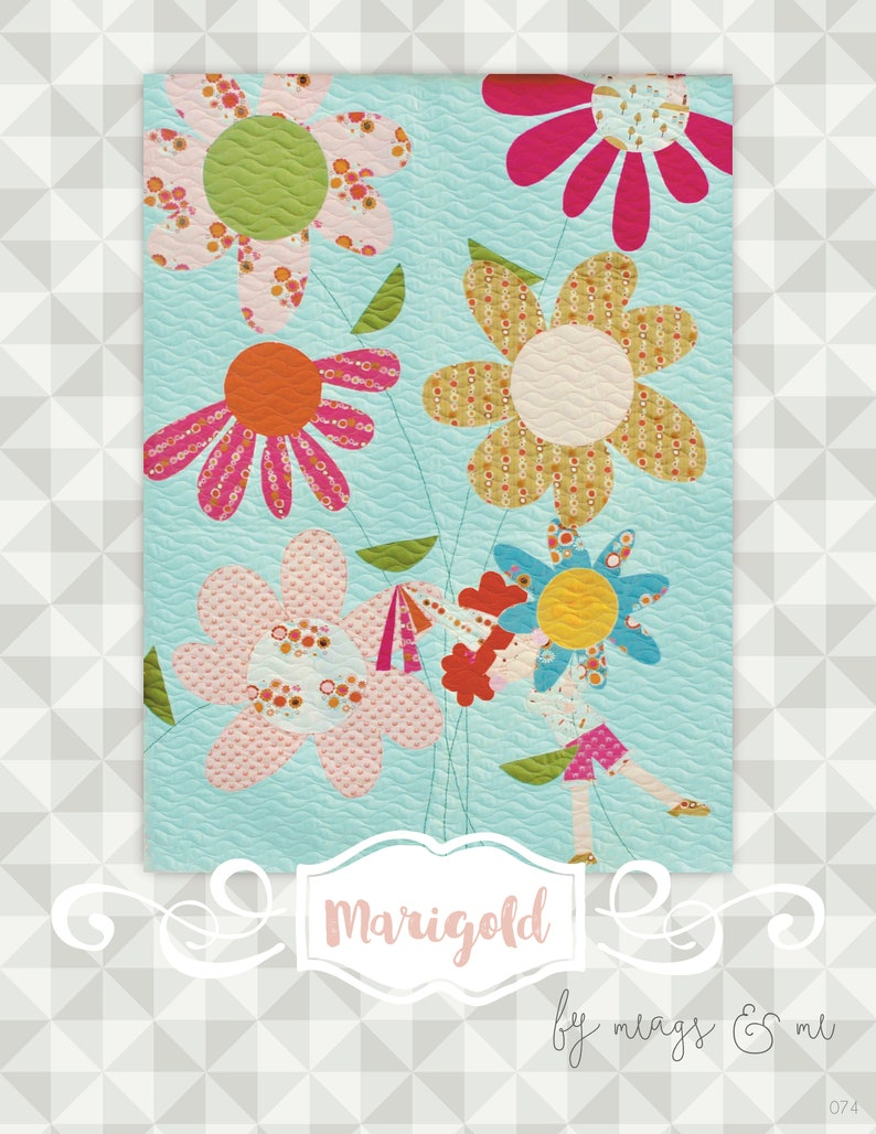 Instant Download Marigold Quilt Pattern.  Embroidery. image 0