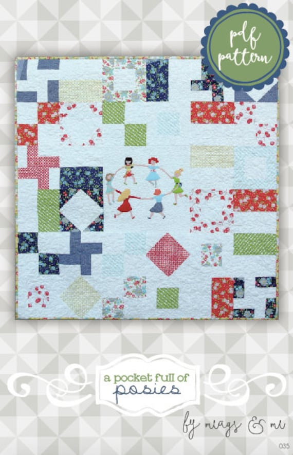 Pocket Of Posies Quilt Pattern.Instant Download Pocket Full Of Posies Pdf Quilt Pattern Applique Embroidery Piecing Wall Hanging Tutorial Kids Quilt Pattern