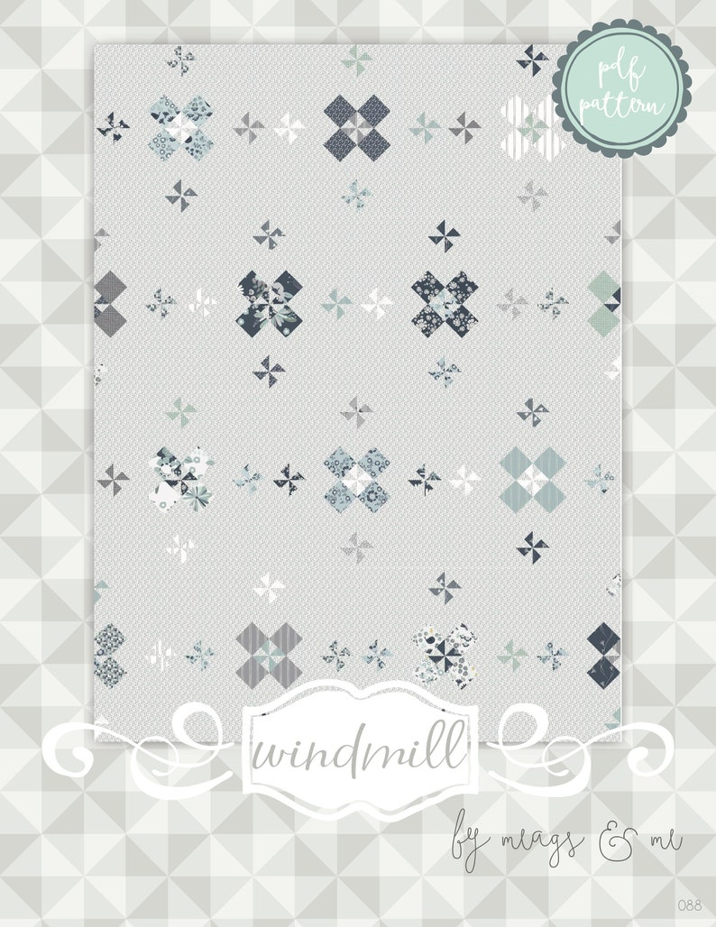 Instant Download: Windmill.  Pieced quilt pattern. Quilt for image 0