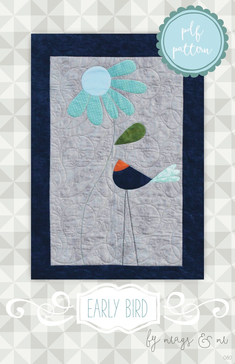Instant Download Wall Hanging Quilt Pattern. Early Bird. Bird image 0