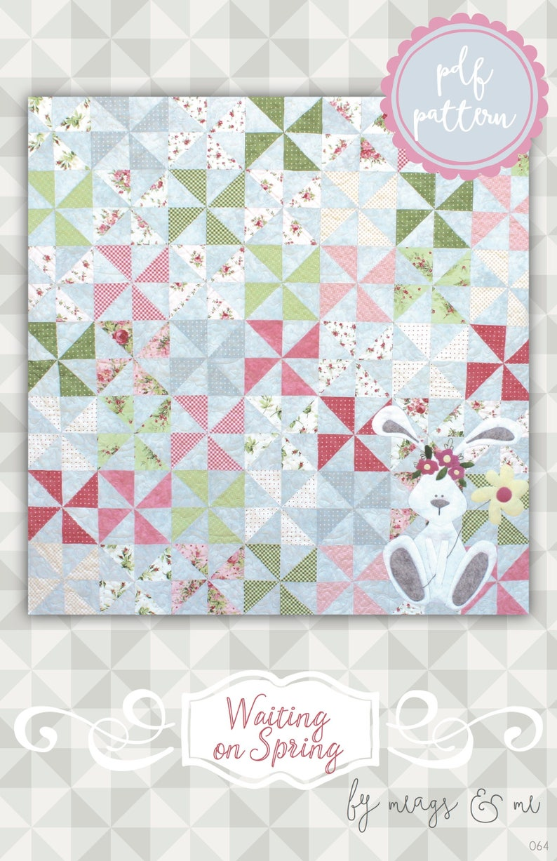 Instant Download: Waiting On Spring an easy pinwheel pieced image 0