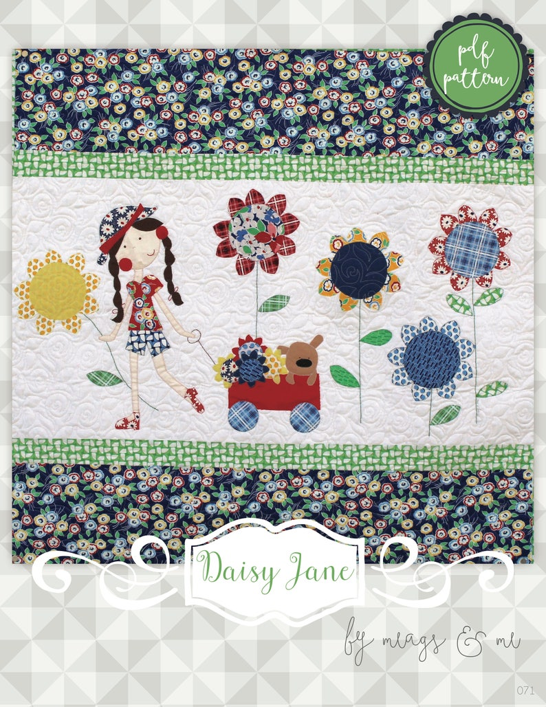 Instant Download Daisy Jane Quilt Pattern.  Embroidery. image 0