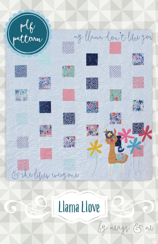Instant Download: Llama Llove  square piecing and appliqué image 0