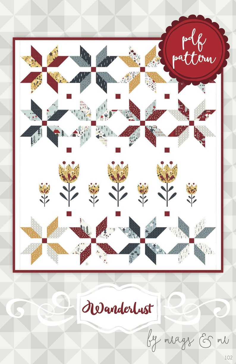 Instant Download Wanderlust. Applique and Embroidery Quilt image 0