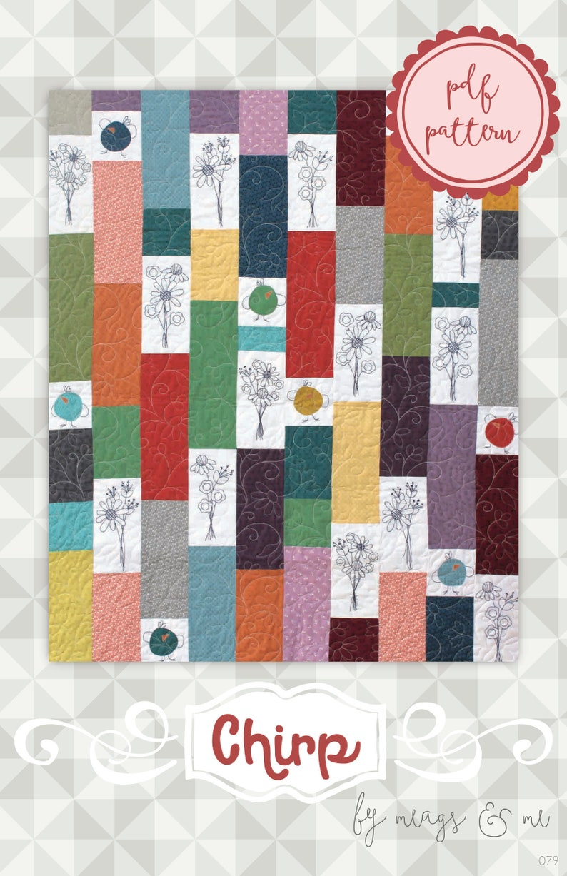 Instant Download Chirp. Embroidery and Appliqué quilt image 0
