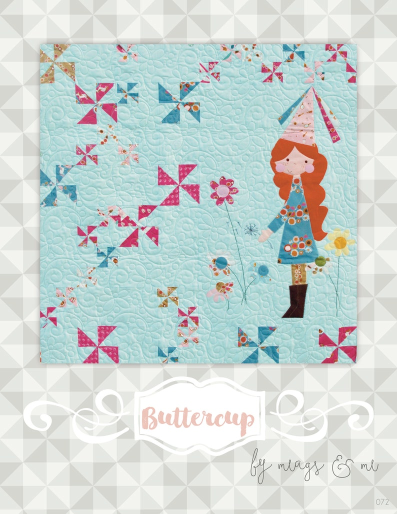 Instant Download Buttercup Quilt Pattern.  Embroidery. image 0