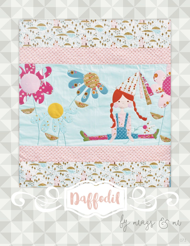 Instant Download Daffodil Quilt Pattern.  Embroidery. image 0