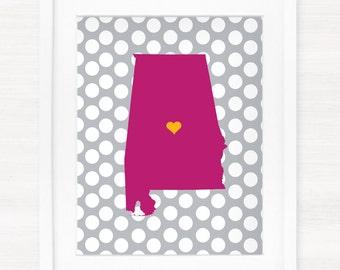 Custom Alabama State Glicée Map Art Print - 8x10 - Pick your City, Background and Color - Graduation Gift Idea - Dorm Decor