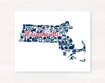 New England: Foxborough, Massachusetts Landmark State Giclée Map Art Print - 8x10 -  Red and Navy  Print