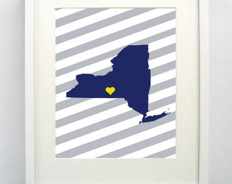 Ithaca, New York State  Giclée Print - 8x10 - Blue Map Print - Graduation Gift Idea - Dorm Decor  Gift