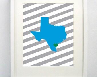 Corpus Christi, Texas State Giclée Map Art Print 8x10 - Graduation Gift Idea - Dorm Decor