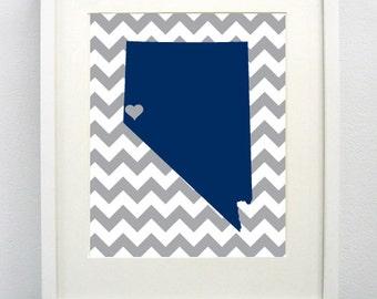 Reno, Nevada State Giclée Map Art Print  - 8x10 - Graduation Gift Idea - Dorm Decor