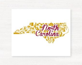 Elon, North Carolina Landmark State Giclée Print - 8x10 - Graduation Gift Idea - Dorm Decor