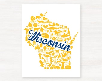Milwaukee, Wisconsin Landmark State Giclée Map Art Print  - 8x10 - Graduation Gift Idea - Dorm Decor