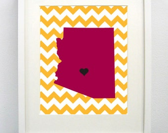 Tempe, Arizona State Giclée Print - 8x10 - Graduation Gift Idea - Dorm Decor