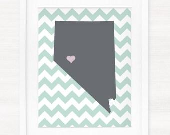 Custom Nevada Glicée Map Art Print - 8x10 - Pick your City, Background and Color - Graduation Gift Idea - Dorm Decor