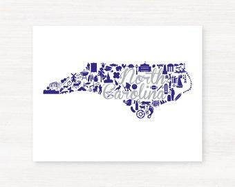High Point, North Carolina Landmark State Giclée Print - 8x10 - Graduation Gift Idea - Dorm Decor
