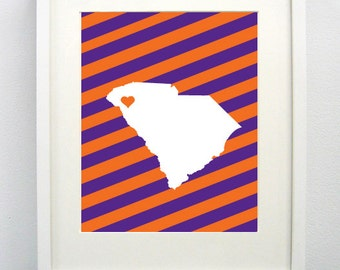 Clemson, South Carolina State Giclée Map Art Print  - 8x10 - Graduation Gift Idea - Dorm Decor