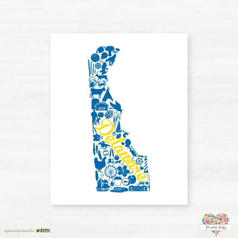 Newark Delaware Landmark State Giclée Map Art Print   8x10  image 0