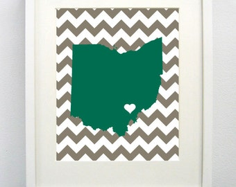 Athens, Ohio State Giclée Map Art Print  - 8x10 - Ohio University Map Art - Graduation Gift Idea - Dorm Decor