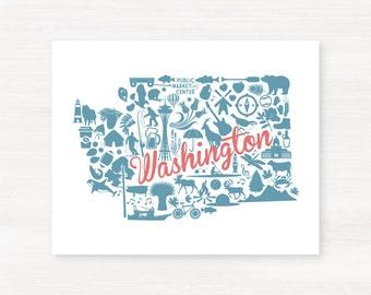Washington Landmark Custom State Map Art Print - 8x10 Giclée Print - Great Graduation Gift Idea - Unique Dorm Decor
