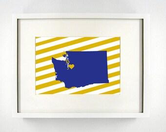 Seattle, Washington State Giclée Map Art Print  - 8x10 - Graduation Gift Idea - Dorm Decor