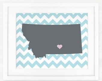 Custom Montana Glicée Map Art Print - 8x10 - Pick your City, Background and Color - Graduation Gift Idea - Dorm Decor