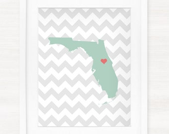Custom Florida Glicée Map Art Print - 8x10 - Pick your City, Background and Color - Graduation Gift Idea - Dorm Decor