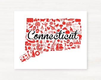 West Hartford, Connecticut Landmark State Giclée Print - 8x10 - Graduation Gift Idea - Dorm Decor