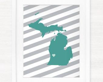 Custom Michigan Glicée Map Art Print - 8x10 - Pick your City, Background and Color - Graduation Gift Idea - Dorm Decor