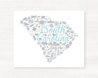 South Carolina Landmark Custom State Map Art Print - 8x10 Giclée Print - Great Graduation Gift Idea - Unique Dorm Decor