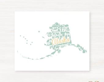 Alaska Landmark Custom State Map Art Print - 8x10 Giclée Print - Great Graduation Gift Idea - Unique Dorm Decor