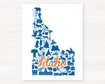Boise, Idaho Landmark State Giclée Map Art Print  - 8x10 - Graduation Gift Idea - Dorm Decor