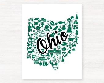 Athens, Ohio Landmark State Giclée Map Art Print  -  Graduation Gift Idea - Dorm Decor
