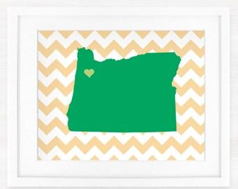 Custom Oregon Glicée Map Art Print - 8x10 - Pick your City, Background and Color - Graduation Gift Idea - Dorm Decor