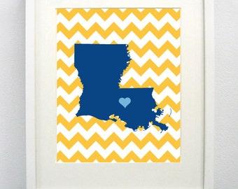 Baton Rouge, Louisiana State Giclée Map Art Print  - 8x10 - Graduation Gift Idea - Dorm Decor