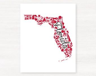 Tampa Bay, Florida Landmark State Giclée Map Art Print - 8x10 -  Red and Pewter Print