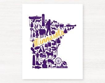Minneapolis, Minnesota Landmark State Giclée Map Art Print - 8x10 -  Purple  and Gold Print