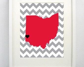 Oxford, Ohio State Giclée Map Art Print  - 8x10 - Red Map Art - Graduation Gift Idea - Dorm Decor