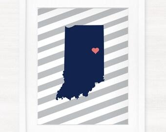 Custom Indiana Glicée Map Art Print - 8x10 - Pick your City, Background and Color - Graduation Gift Idea - Dorm Decor