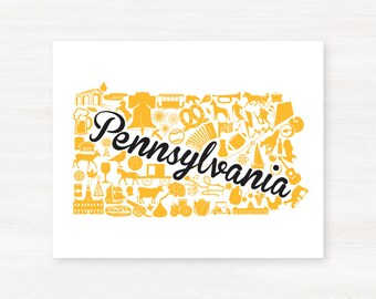 Pittsburgh, Pennsylvania Landmark State State Giclée Map Art Print - 8x10 -  Black and Yellow Print