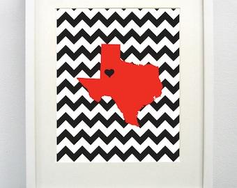 Lubbock, Texas State Giclée Map Art Print  - 8x10 - Graduation Gift Idea - Dorm Decor