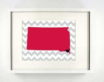 Vermillion, South Dakota Giclée Map Art Print  - 8x10 - Graduation Gift Idea - Dorm Decor