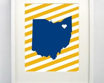 Kent, Ohio State Giclée Map Art Print  - 8x10 - Graduation Gift Idea - Dorm Decor