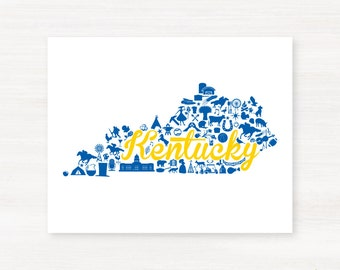Morehead, Kentucky Landmark State Giclée Map Art Print  - 8x10 - Graduation Gift Idea - Dorm Decor