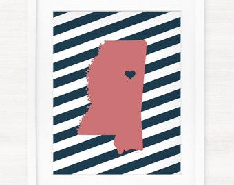 Custom Mississippi Glicée Map Art Print - 8x10 - Pick your City, Background and Color - Graduation Gift Idea - Dorm Decor