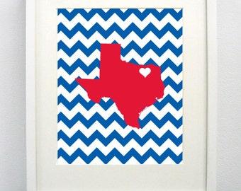 Dallas, Texas State Giclée Map Art Print  - 8x10 - SMU - Graduation Gift Idea - Dorm Decor