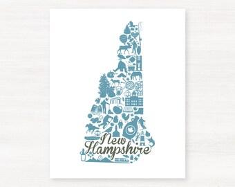 New Hampshire Landmark Custom State Map Art Print - 8x10 Giclée Print - Great Graduation Gift Idea - Unique Dorm Decor