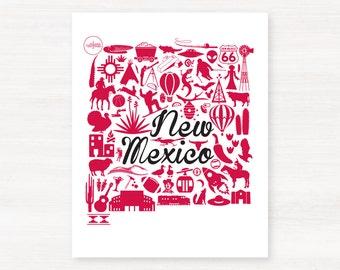 Albuquerque, New Mexico Landmark State Giclée Print - 8x10 - Graduation Gift Idea - Dorm Decor